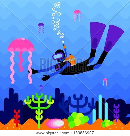 Diver at the bottom of a coral reef. Objects isolated on background. Flat and cartoon vector illustration.