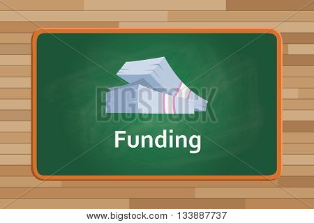 funding money with cash on front of green board chalk vector graphic illustration