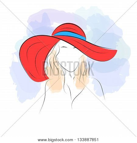 Vector illustration. Handdrawing. Silhouette woman in red summer hat on watercolor background. Banner or card template for womans shop or salon. Isolated