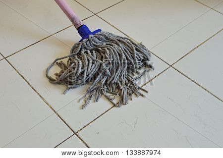 mop the tile floor in the house