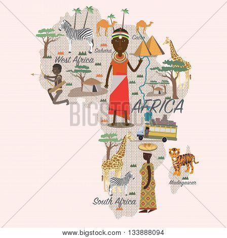Africa map and travel for tourist eps 10 format