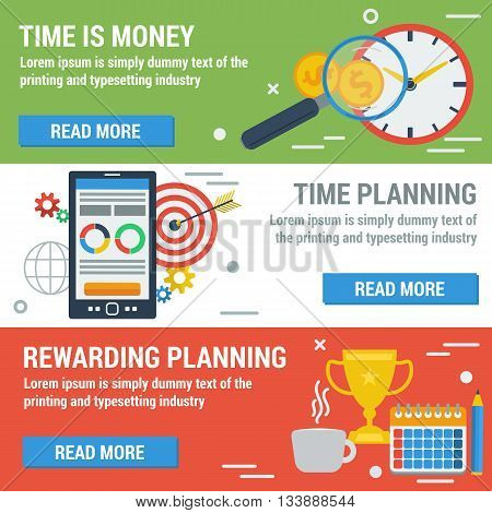 Vector horizontal banners time management. Time is money reward for good planning and plan your work time in flat style