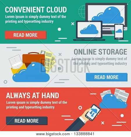 Vector horizontal banners online cloud storage. All files always at hand online convenient storage. Easy upload and downloading. Web infographic in flat style
