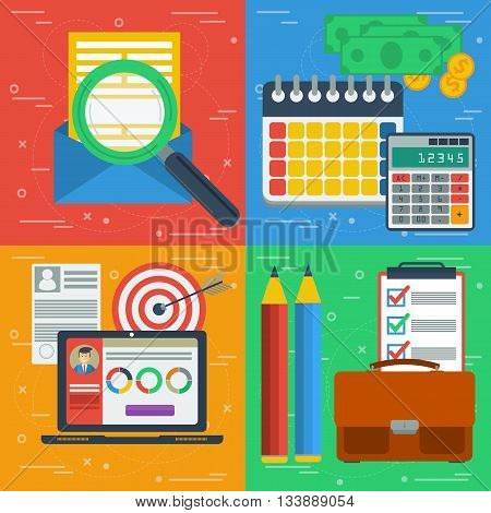 Vector square four business concept. Search e-mailing design planning finance and budget and internet managment. Flat style. Web infographics. Banners for advertising and background
