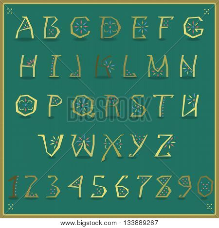 Golden Alphabet with ethnic ornament. Artistic yellow font with green background. Illustration.