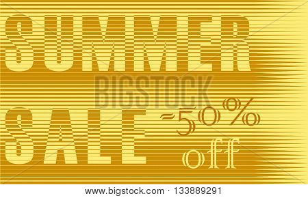 Summer Sale Inscription. Fifty percents off. Striped Yellow Letters. Illustration.