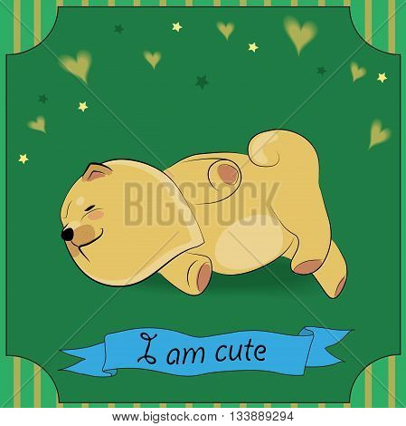 Cute Sleeping puppy Chow-chow. Yellow dog. Blue banner. Green greeting card. Illustration.