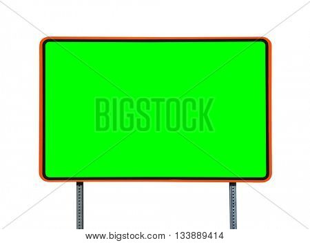 Highway road sign isolated on white with chroma key green screen insert.