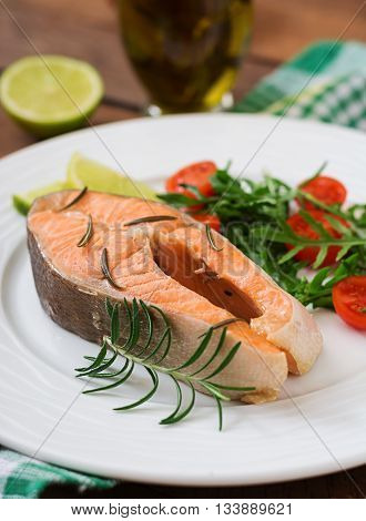 Cooked On Steam Salmon Steak With Vegetables. Dietary Menu. Proper Nutrition.