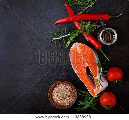 Raw Steak Salmon And Vegetables For Cooking On A Black Background. Dietary Menu. Proper Nutrition. T