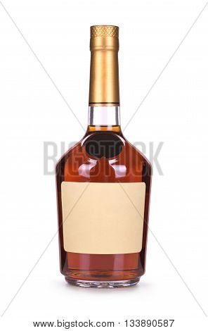 brandy bottles isolated on a white background
