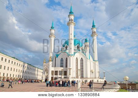 KAZAN, RUSSIA - APRIL 30, 2016: Sunny april day at the mosque Kul-Sharif. Main landmark of the city Kazan