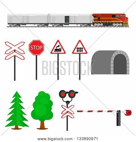 Railroad traffic way and train wagons with refrigerators. Railroad train transportation. Railway equipment with signs, barriers, alarms, traffic lights. Flat icons vector illustration.