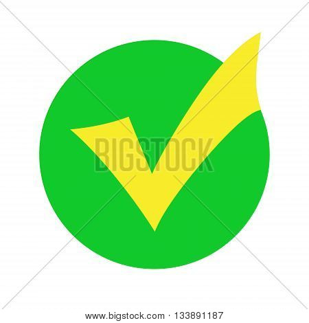 Yellow check mark in a green circle isolated on white background. Raster graphic image