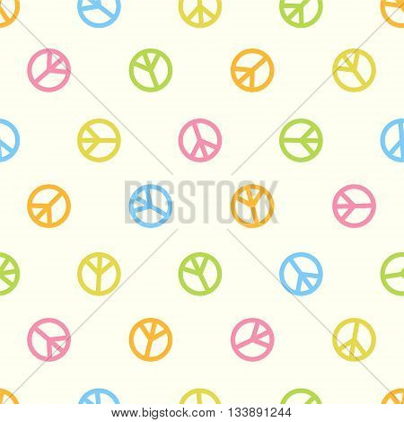 Seamless multicolored vector hippie pattern - peace symbol