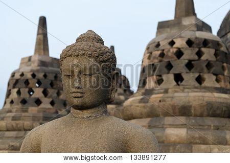Buddha Statue at Borobudur in Indonesia, Java