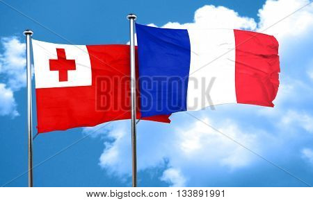 Tonga flag with France flag, 3D rendering
