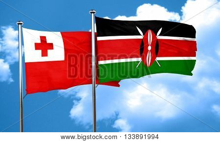Tonga flag with Kenya flag, 3D rendering