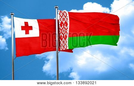 Tonga flag with Belarus flag, 3D rendering