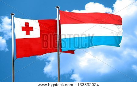 Tonga flag with Luxembourg flag, 3D rendering