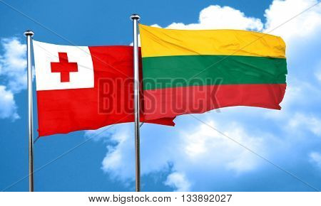 Tonga flag with Lithuania flag, 3D rendering