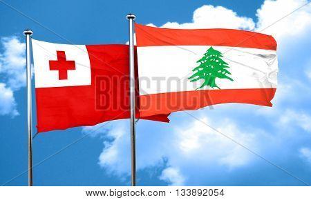 Tonga flag with Lebanon flag, 3D rendering