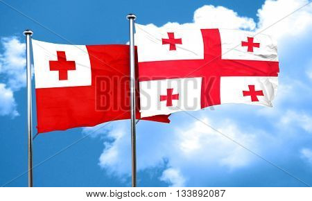 Tonga flag with Georgia flag, 3D rendering