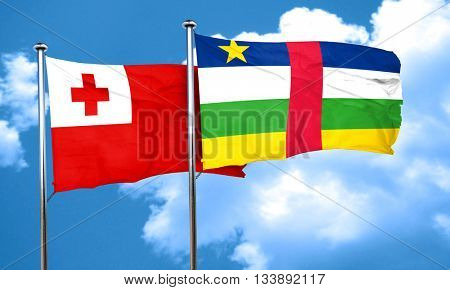 Tonga flag with Central African Republic flag, 3D rendering