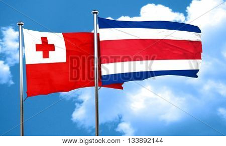 Tonga flag with Costa Rica flag, 3D rendering