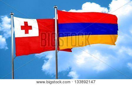 Tonga flag with Armenia flag, 3D rendering