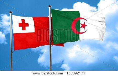Tonga flag with Algeria flag, 3D rendering