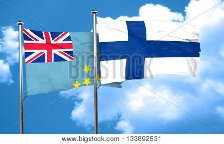 Tuvalu flag with Finland flag, 3D rendering