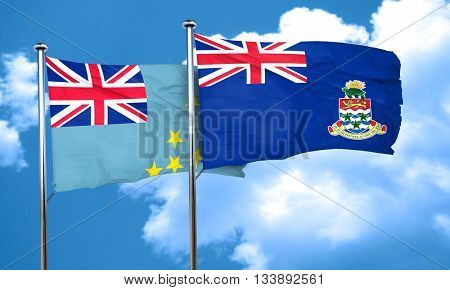 Tuvalu flag with Cayman islands flag, 3D rendering