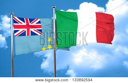 Tuvalu flag with Italy flag, 3D rendering