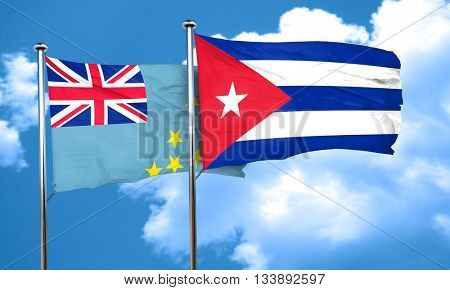 Tuvalu flag with cuba flag, 3D rendering