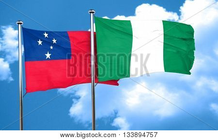 Samoa flag with Nigeria flag, 3D rendering