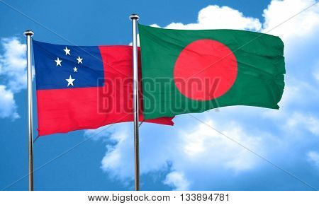 Samoa flag with Bangladesh flag, 3D rendering