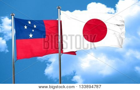Samoa flag with Japan flag, 3D rendering