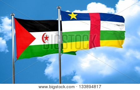 Western sahara flag with Central African Republic flag, 3D rende