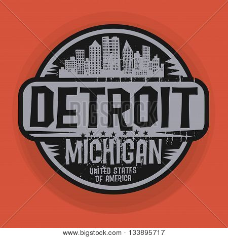 Stamp or label with name of Detroit, Michigan, vector illustration