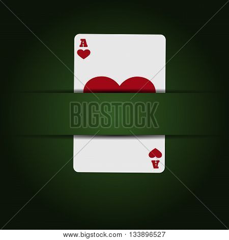 Illustartion Green Casino Background With  Card  Eps 10 Vector