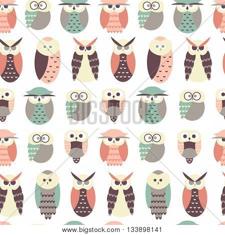 Seamless Pattern with Owls / Cute Owl Background in Vector
