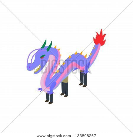Dancing dragon icon in isometric 3d style isolated on white background. Holiday symbol