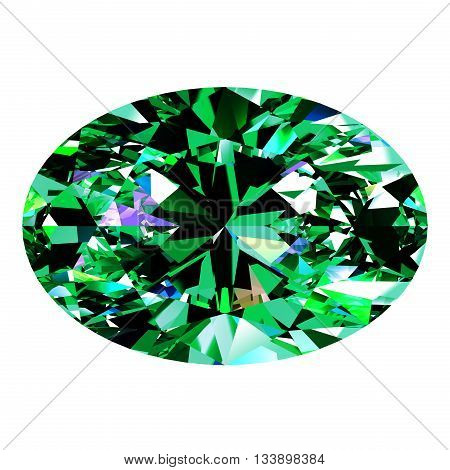 Emerald Oval Over White Background. 3D Illustration.