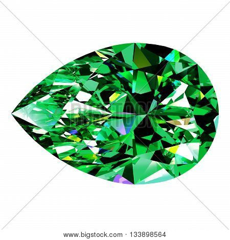 Emerald Pear Over White Background. 3D Illustration.