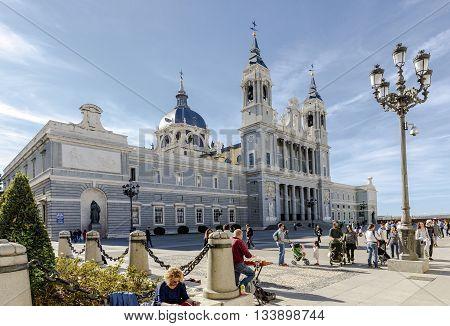 Madrid Spain - November 27 2015: Almudena Cathedral in Madrid Spain