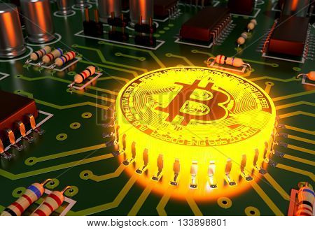 Concept Of Bitcoin Like A Hot Computer Processor On Motherboard. 3D Illustration.