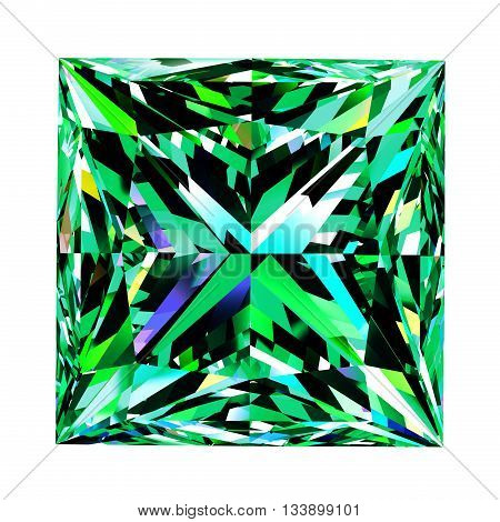 Emerald Princess Over White Background. 3D Illustration.
