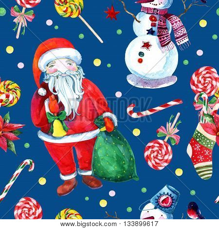Watercolor christmas background with Santa Clause snowman and gifts. Hand painted watercolor illustration