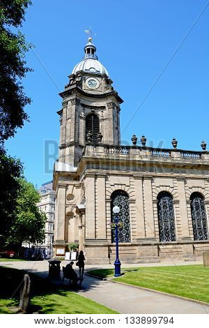 BIRMINGHAM, UNITED KINGDOM - JUNE 6, 2016 - View of St Philips Cathedral and bell tower Birmingham England UK Western Europe, June 6, 2016.